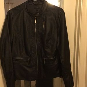 New Leather jacket zip up zip pockets and sleeves